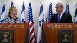 Israel's Prime Minister Benjamin Netanyahu and U.S. Secretary of State Hillary Rodham Clinton deliver joint statements in Jerusalem, Tuesday, Nov. 20, 2012. (AP Photo/Baz Ratner, Pool)