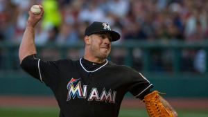 Miami Marlins starting pitcher Jose Fernandez delivers to a Cleveland Indians batter during the first inning of a baseball game in Cleveland, Saturday, Sept. 3, 2016. (AP Photo/Phil Long)
