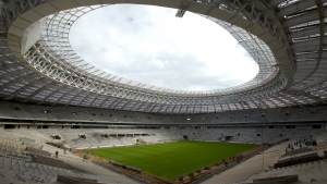 In this file photo, a view of the Luzhniki stadium, which is undergoing a major rebuild to be ready to host the 2018 World Cup final, in Moscow, Russia on Sept. 7, 2016. (AP Photo/Ivan Sekretarev, File)