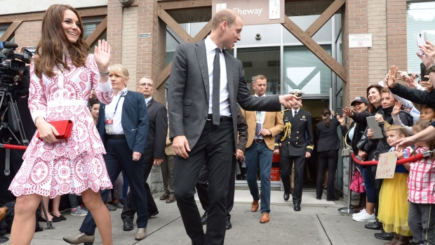 The Duke and Duchess of Cambridge greet well-wishers after a tour of Sheway, a centre that provides support for native women, in Vancouver, B.C., Sunday, Sept. 25, 2016. THE CANADIAN PRESS/Jonathan Hayward