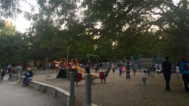Children play in the playground at Bellevue Square Park in Kensington Market on Sept. 25. (Courtney Heels/CP24)