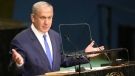 Prime Minister of Israel Benjamin Netanyahu speaks during the 71st session of the United Nations General Assembly on Sept. 22, 2016. (Seth Wenig / AP)