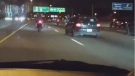A video taken by a witness to a road rage incident, showing what appears to be the driver of a crashed vehicle throwing an item at a group of motorcyclists. (chris_1che/Instagram)