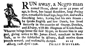 This photo provided by Black Dome Press shows a 1768 posting by Philip Schuyler in Albany, N.Y., that is published in 'In Defiance,' a book that examines slavery in New York's Hudson Valley through a century of newspaper notices seeking the return of runaway slaves.