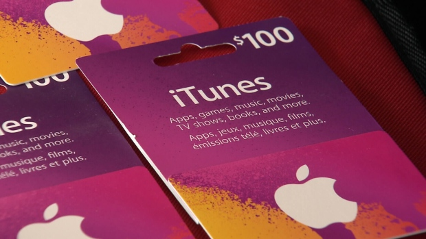 iTunes gift cards are seen in this undated file photo. (CTV)