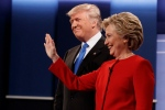 Republican presidential candidate Donald Trump, left, stands with Democratic presidential candidate Hillary Clinton before the first presidential debate at Hofstra University, Monday, Sept. 26, 2016, in Hempstead, N.Y. (AP / Evan Vucci)