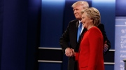 Republican presidential candidate Donald Trump, left, shakes hands with Democratic presidential candidate Hillary Clinton during the first presidential debate at Hofstra University, Monday, Sept. 26, 2016, in Hempstead, N.Y. (AP Photo/ Evan Vucci)