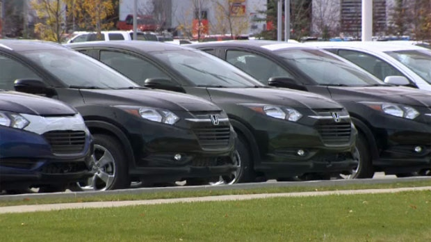 Vehicles in the Village Honda sales lot in northwest Calgary