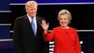 Republican presidential nominee Donald Trump and Democratic presidential nominee Hillary Clinton are introduced during the presidential debate at Hofstra University in Hempstead, N.Y., Monday, Sept. 26, 2016. (David Goldman / AP)