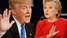 Republican presidential nominee Donald Trump and Democratic presidential nominee Hillary Clinton in a composite of images from the presidential debate at Hofstra University in Hempstead, N.Y., on Sept. 26, 2016. (David Goldman / AP)