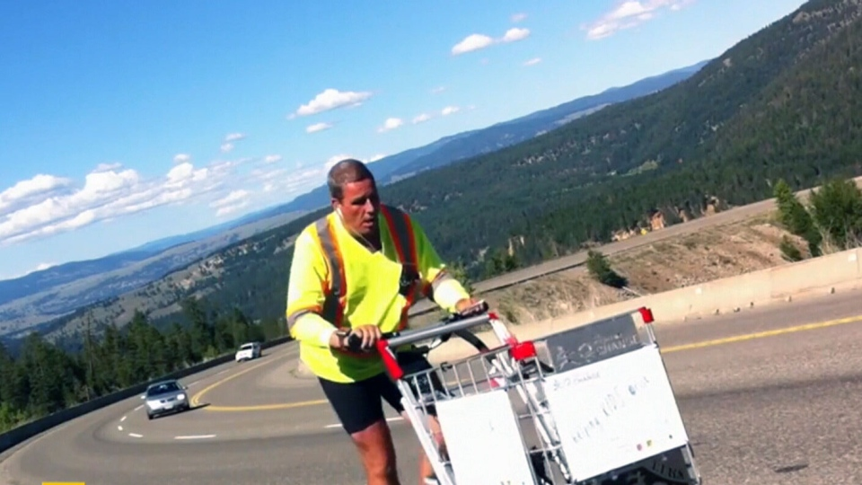 Joe Roberts is pushing a shopping cart across Canada in the hopes of raising money for homeless youth initiatives.