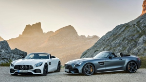 This undated handout image provided by the MediaPortal of the Daimler AG shows the 2016 model of the AMG GT Roadster and AMG GT C Roadster. Major automakers are finding the Paris auto show, held in a city whose mayor wants to ban diesels to reduce pollution, as a fine place to show off new zero-emission electric cars.(Daimler AG via AP)