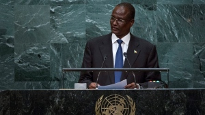 South Sudan's Vice President Taban Deng Gai addresses the 71st session of the United Nations General Assembly, at UN headquarters, Friday, Sept. 23, 2016. (AP Photo / Craig Ruttle)