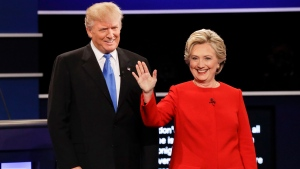 Republican presidential nominee Donald Trump and Democratic presidential nominee Hillary Clinton are introduced during the presidential debate at Hofstra University in Hempstead, N.Y., Monday, Sept. 26, 2016. (AP Photo / David Goldman)