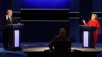 Republican presidential nominee Donald Trump and Democratic presidential nominee Hillary Clinton spar during the presidential debate at Hofstra University in Hempstead, N.Y., Monday, Sept. 26, 2016. (AP Photo/David Goldman)