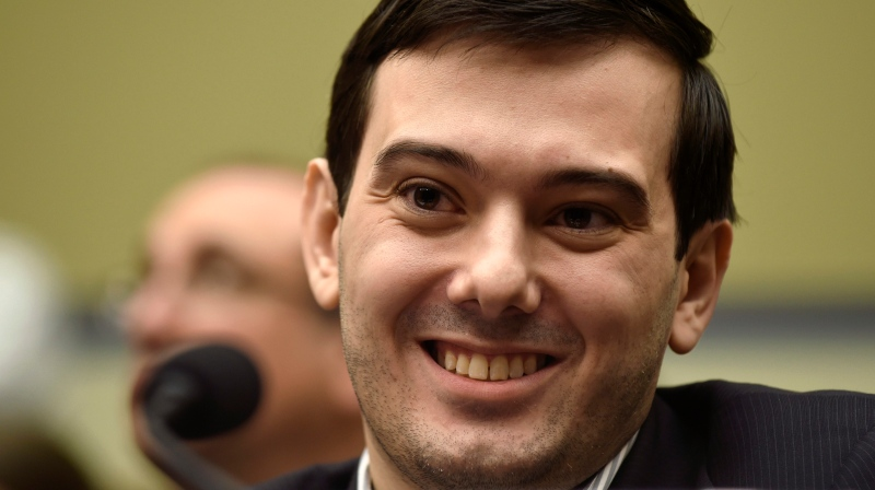 Pharmaceutical chief Martin Shkreli smiles on Capitol Hill in Washington during the House Committee on Oversight and Reform Committee hearing on his former company's decision to raise the price of a lifesaving medicine on Feb. 4, 2016. (File/AP /Susan Walsh)
