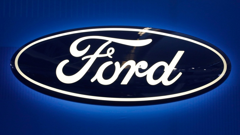 Ford logo on display at the Pittsburgh International Auto Show in Pittsburgh, on Feb. 11, 2016. (Gene J. Puskar / AP)