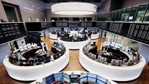 The trading room of the stock market is photographed in Frankfurt, Germany, Tuesday, Feb. 23, 2016. (Michael Probst/AP)
