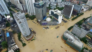 An aerial view shows flooded intersections following the landfall of Typhoon Megi in Fuzhou, China, on Sept. 28, 2016. (Chinatopix via AP)