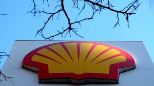 The Shell logo at a petrol station in London, Wednesday, Jan. 20, 2016. Shell has abandoned the first of its deepwater exploration wells off Nova Scotia, saying it didn't find enough oil for commercial production. (THE CANADIAN PRESS / AP / Kirsty Wigglesworth)