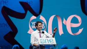 Prime Minister Justin Trudeau speaks during the One Young World summit on Parliament Hill on Wednesday, Sept. 28, 2016 in Ottawa. (THE CANADIAN PRESS / Justin Tang)