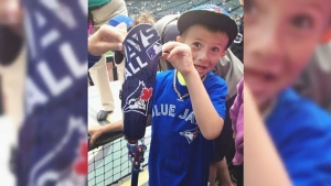 Roan Heck from Settler, Alta., met the Blue Jays slugger in Seattle last July on a family trip to see the team play on the road when he was seven years old.