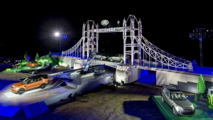 New Land Rover Discovery debuts on Lego Tower Bridge. (Land Rover)