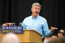 In this Sept. 3, 2016 file photo, Libertarian presidential candidate Gary Johnson speaks during a campaign rally in Des Moines, Iowa. (AP / Scott Morgan)