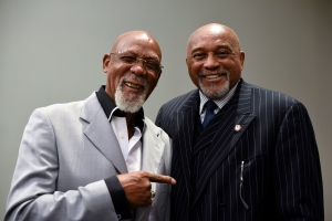John Carlos, left, and Tommie Smith pose for a portrait at Georgetown University in Washington on Wednesday, Sept. 28, 2016. Smith and Carlos voiced their support for Colin Kaepernick and other athletes staging national anthem protests, 48 years after they raised their gloved fists on the medals stand in a symbolic protest at the Olympics. (AP Photo/Sait Serkan Gurbuz)