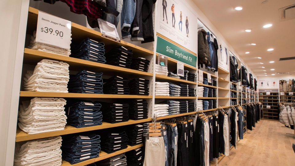 Clothing is seen at the first Uniqlo retail clothing store in Toronto, on Sept 26, 2016. (Mark Blinch / THE CANADIAN PRESS)