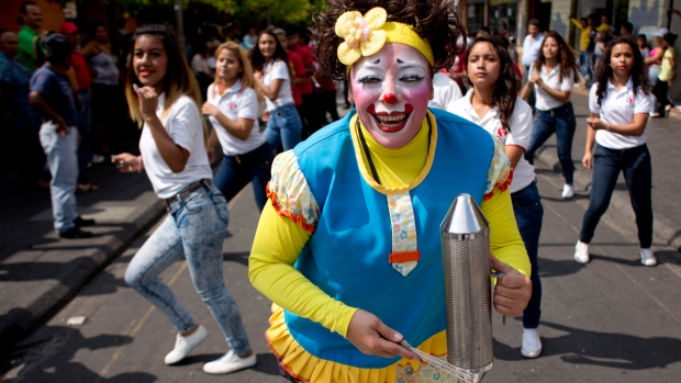 A clown in downtown Guatemala City