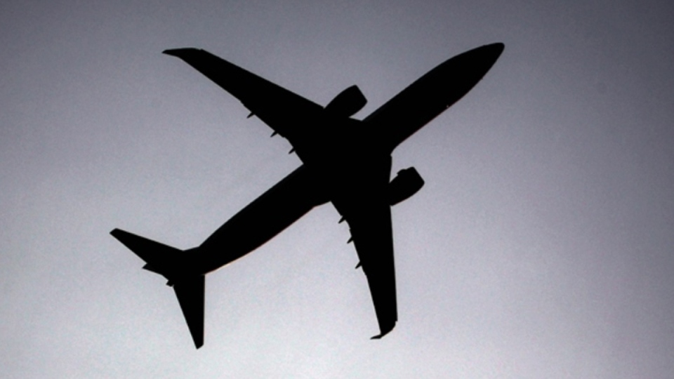 A silhouette of an airplane