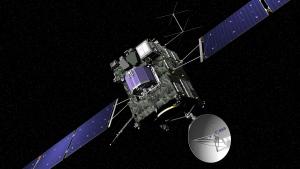 The artist impression provided on the website of the European Space Agency ESA on Sept. 29, 2016 shows ESA's Rosetta cometary probe. The spacecraft crash landed on Comet 67P/Churyumov-Gerasimenko Sept. 30, 2016. (J. Huart/ESA via AP)