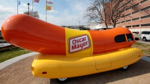 The wienermobile outside of the Oscar Meyer headquarters in Madison, Wis., on Oct. 27, 2014. (M.P. King / Wisconsin State Journal via AP)