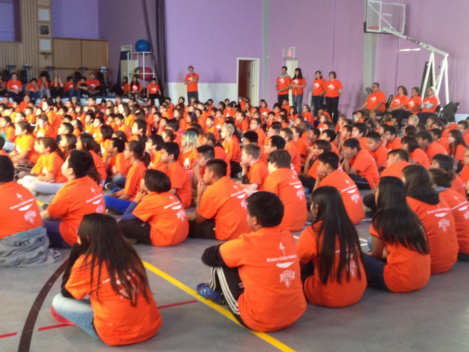 Students at Sacred Heart School in Regina mark Orange Shirt Day on Friday, Sept. 30, 2016. (KATHERINE HILL/CTV REGINA)