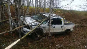 Boyle RCMP said a passing motorist came across this pickup truck down an embankment on Hwy 663 late Thursday, September 29. Supplied.