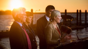 Catherine McKenna, front right, Minister of Environment and Climate Change, speaks while flanked by Jim Carr, from left to right, Minister of Natural Resources, British Columbia Premier Christy Clark and Dominic LeBlanc, Minister of Fisheries, Oceans and the Canadian Coast Guard, after the federal government announced approval of the Pacific NorthWest LNG project, at the Sea Island Coast Guard Base, in Richmond, B.C., on Tuesday, Sept. 27, 2016. (THE CANADIAN PRESS/Darryl Dyck)