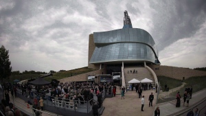 Guests gather at the grand opening of the Canadian Museum For Human Rights in Winnipeg on September 17, 2014. THE CANADIAN PRESS/John Woods