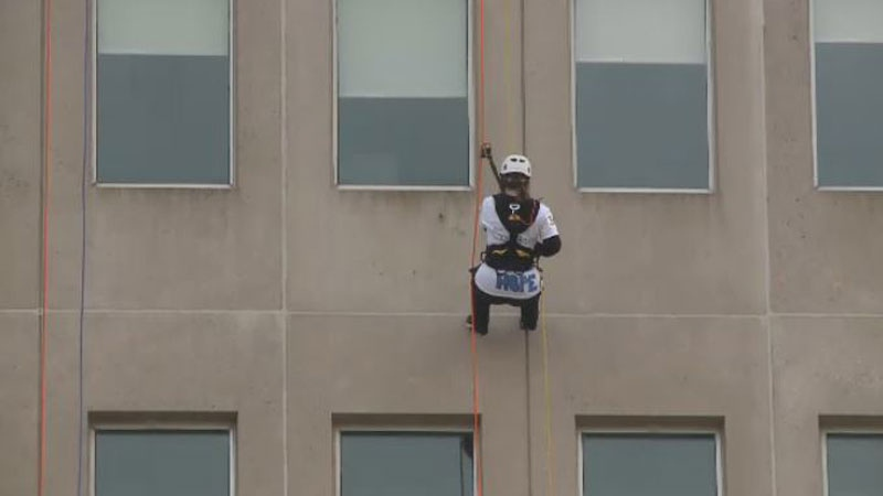 The Make-A-Wish Foundation's Rope for Hope Challenge offered fundraisers the chance to rappel down the 20-storey Assumption Place for a good cause.