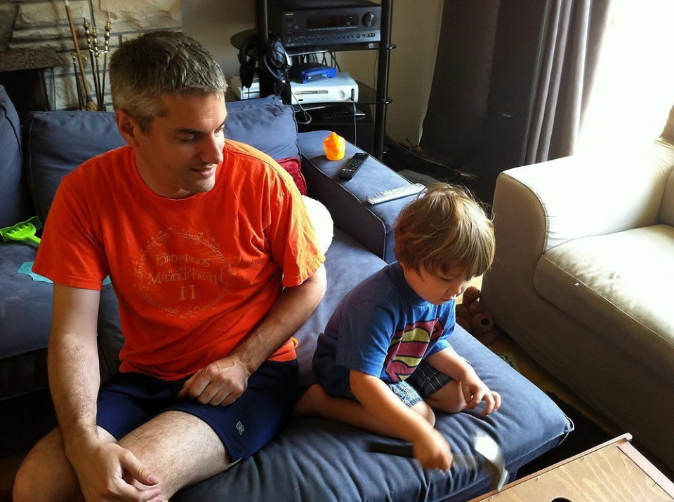 Kris Morness, of Vancouver, and his son Max are seen at home in Vancouver in September 2011. Despite court orders, Max's mother abducted him to Japan, putting the child out of Morness's reach. (HO/The Canadian Press)