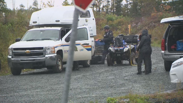Nova Scotia RCMP block of a section of Spider Lake after the discovery of human remains.
