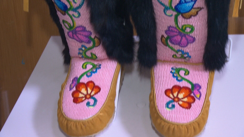 The teens are learning how to make beautiful beaded mukluks and moccasins while connecting with indigenous cultures.
