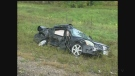 A black Nissan is left heavily damaged following a collision in Oxford County on Sunday, October 2, 2016. (CTV London)