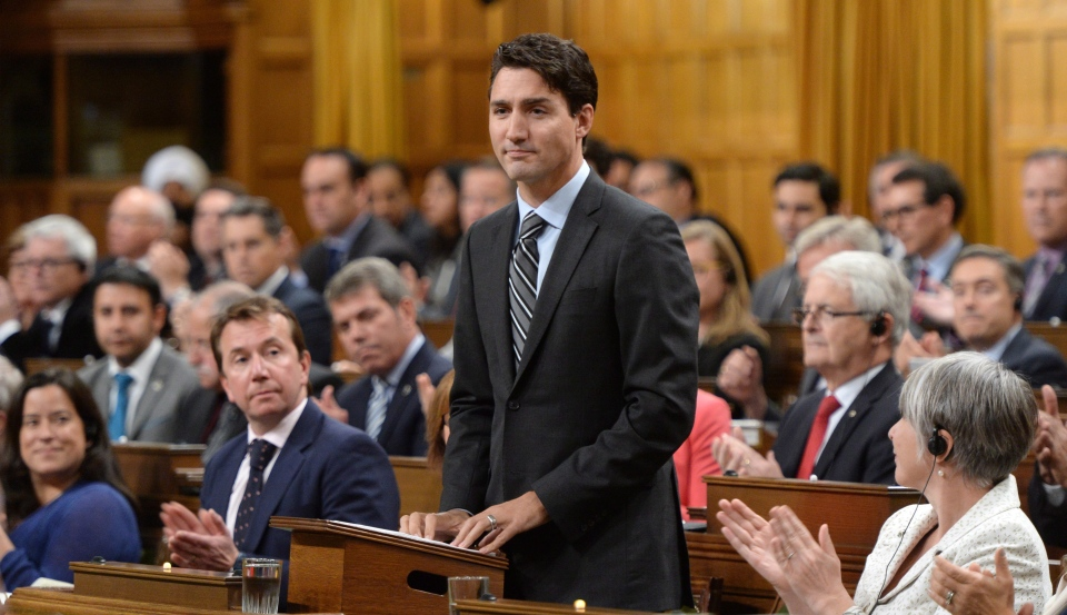 Prime Minister Justin Trudeau delivers a speech at the start of the Paris Agreement debate in the House of Commons on Monday, Oct. 3, 2016. (Sean Kilpatrick / THE CANADIAN PRESS)