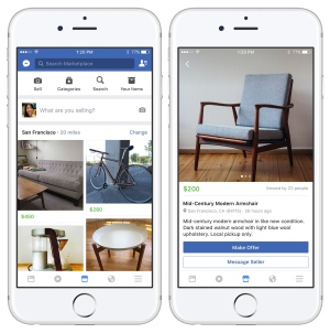 These images provided by Facebook show smartphone screen grabs demonstrating Facebook's new 'Marketplace' section. Facebook Inc. said Monday, Oct. 3, 2016, the most popular items people currently buy and sell on the service include furniture, cars and clothes. (Facebook via AP)