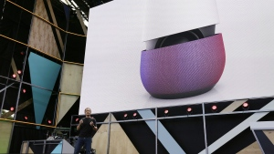 In this May 18, 2016 file photo, Google vice president Mario Queiroz gestures while introducing the new Google Home device during the keynote address of the Google I/O conference in Mountain View, Calif. (AP / Eric Risberg, File)