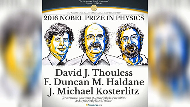 British-born scientists David Thouless, Duncan Haldane and Michael Kosterlitz were awarded this year's Nobel Prize in physics on Tuesday, Oct. 4, 2016.
