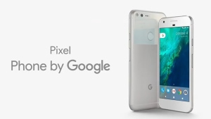The new Google Pixel phone shown at the launch event on Oct. 4, 2016.