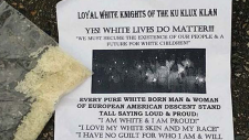 KKK flyers left on Abbotsford doorsteps