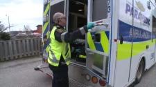 An ambulance responds to a call